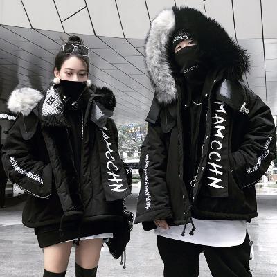 MAMC阴阳雕黑白拼色毛领大衣反光飘带座山雕男女情侣国潮棉服外套