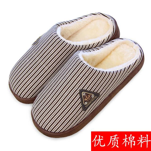 韩版冬季男士女士棉拖鞋厚底保暖居家防滑加厚包跟毛拖情侣毛毛鞋