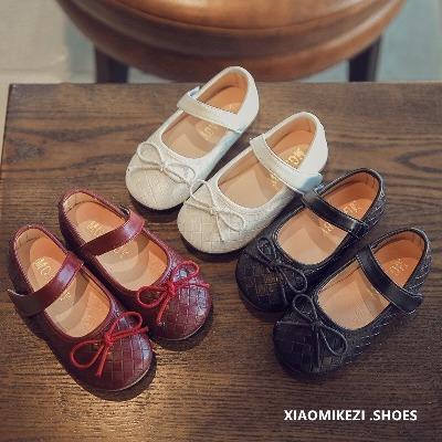 2018春季新款女童鞋子韩版编织纹皮鞋儿童公主鞋宝宝鞋黑色单鞋潮