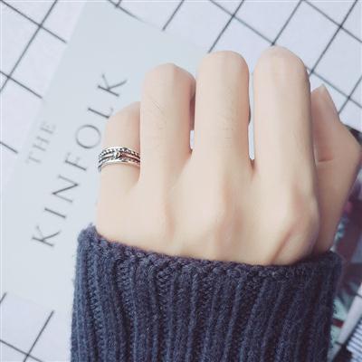 s925银戒指女复古泰银麻花开口戒指指环民族风小指尾戒子