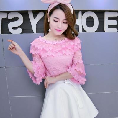 超仙甜美秋装气质重工花朵修身镂空蕾丝衫粉色女装春季打底衫上衣