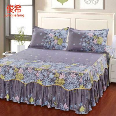 床盖单件公主裙笠罩席梦思保护套家纺四防蚊群子双边三薄垫老粗布
