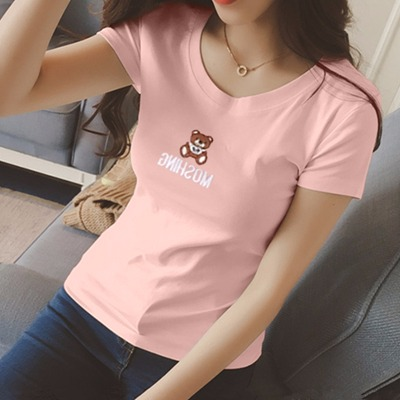 夏季新款短袖圆领修身学生韩版半袖女小熊刺绣简约粉色少女t恤女