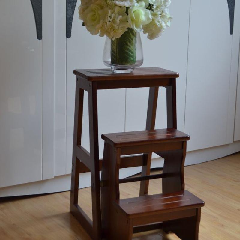 楼梯椅家用多功能梯子楼梯凳楠竹折叠椅四步梯梯架三层加高版梯凳
