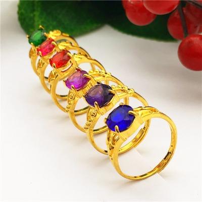沙金戒指女士欧币镀黄金色镶嵌宝石日韩流行戒指环开口可调节