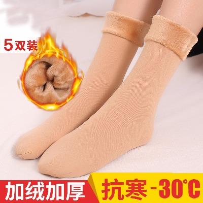 冬季加厚保暖毛袜子女中筒棉袜新款加厚加绒保暖长筒雪天袜地板袜