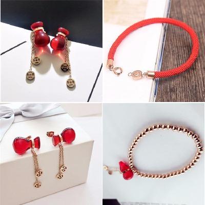 钛钢手链女 玫瑰金手链 质量保障 钱袋手链 红绳手链 钱袋耳环女