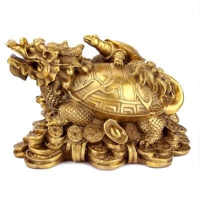 开光黄铜龙龟摆件母子龟八股化煞龙头招财避邪保平安益子女