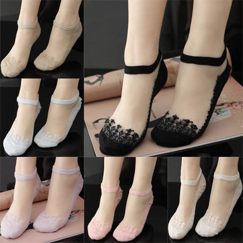 【春夏2/8双装】袜子女短袜水晶玻璃丝袜蕾丝隐形袜船袜女士丝袜