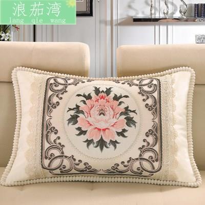 中欧式沙发靠垫45*45方形靠背垫套提花抱枕45*65床上绣花枕头单人