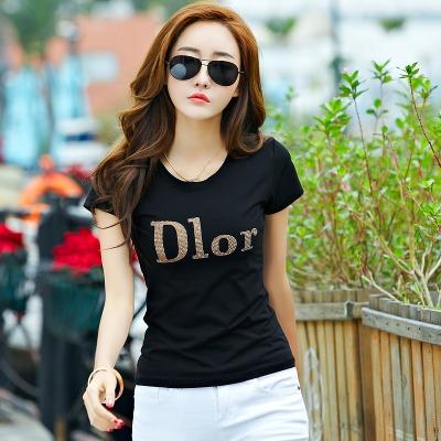 【94%棉】【5色6码】短袖t恤女夏装韩版休闲修身半袖打底体恤衫