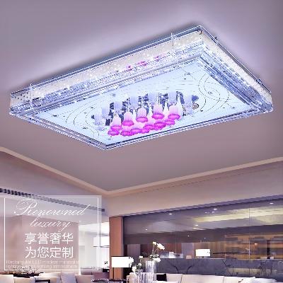 蓝牙音乐灯led客厅灯具长方形水晶主卧室家用大气吸顶遥控变色