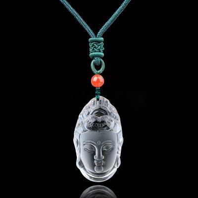 开光 纯天然白水晶观音吊坠 男士项链护身符辟邪菩萨头像玉石佛像