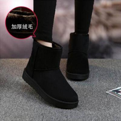 雪地靴女款短筒短靴2020加绒鞋棉鞋女冬学生加厚保暖面包鞋雪地棉
