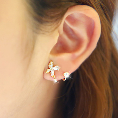 【一对价】韩国蝴蝶耳环后挂式耳钉气质女水钻耳钉防过敏