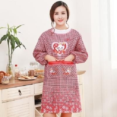 76260/韩版做饭围裙长袖女防水厨房成人罩衣反穿衣罩可爱带袖围裙包邮
