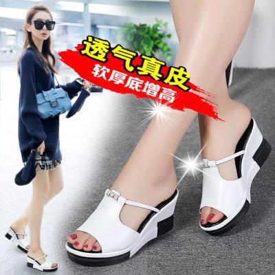 真皮凉拖鞋女2020年夏季新款一字拖坡跟凉鞋百搭女鞋厚底外穿女拖
