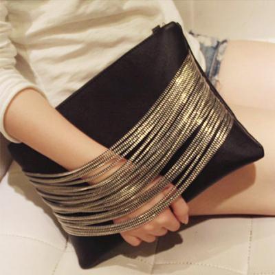 女包链条手拿包新款时尚手抓包斜挎包个性拉链实用大手包单肩包