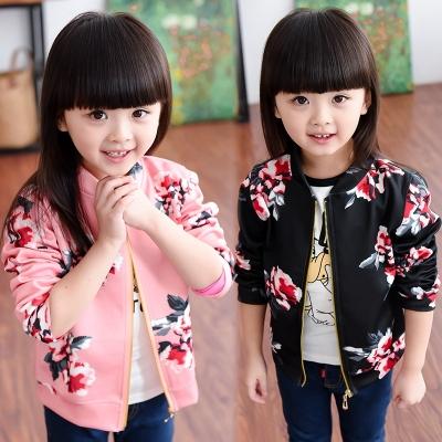 2020春秋季新款女童装时尚印花休闲外套夹克上衣开衫拉链衫2-8岁