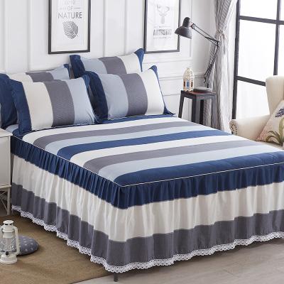全棉床裙床罩单件 简约条纹活性印染公主风不褪色防滑床单纯棉1.5