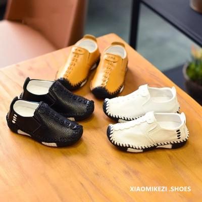 儿童韩版男童休闲鞋19春秋新款一脚蹬小皮鞋单鞋手缝线软底豆豆鞋