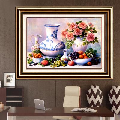 油画花瓶水果酒杯餐厅满钻5D圆钻钻石十字绣钻石画贴钻点钻沾钻粘