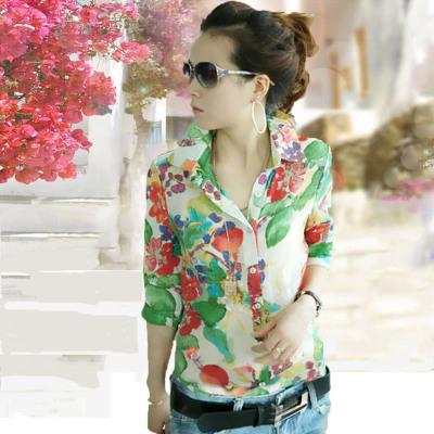 2020夏季新款韩版清新甜美休闲碎花衬衣修身打底雪纺衬衫短袖女