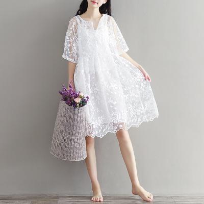 夏宽松大码小清新文艺复古白色刺绣蕾丝连衣裙度假仙女裙两件套新
