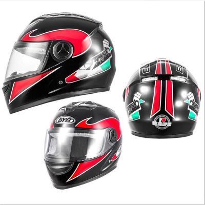 BYB摩托车头盔四季款电动车全盔防雾镜片带围脖男女通用安全帽111