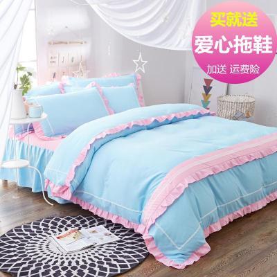 韩式公主风纯棉床裙四件套简约单双人全棉花边床罩1.5m/1.8/2.0米