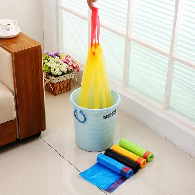 5卷自动收口垃圾袋加厚手提式家用抽绳穿绳厨房塑料袋颜色随机