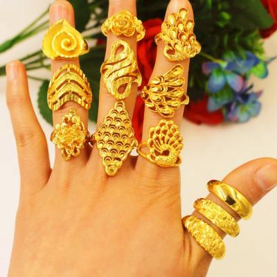 越南沙金戒指女款花不掉色时尚欧币金开口指环 日韩流行气质首饰
