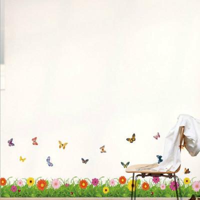 可移除客厅卧室装饰腰线踢脚线墙贴纸幼儿园儿童房背景墙贴画贴花清新草丛