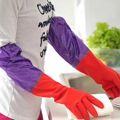 洗碗手套加绒加厚防水洗衣服手套耐用橡胶皮家务手套清洁加长 乳胶洗衣服清洁家务手套 。