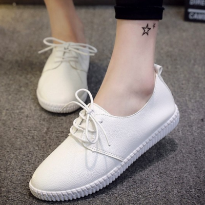 女鞋单鞋春夏季百搭休闲平底小皮鞋运动2020年新款小白鞋春款薄款