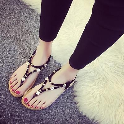 夏季新款夹脚趾凉鞋女平底韩版大码波西米亚沙滩鞋学生人字拖凉鞋