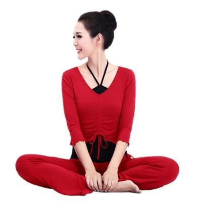 秋季新款舞蹈瑜伽服套装女修身三件套纯棉中袖显瘦专业运动健身服