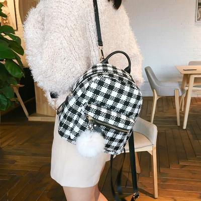 双肩包女韩版格子双肩包迷你小双肩包百搭小书包学生包个性小包包