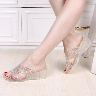 促销广场舞高跟凉拖鞋塑胶果冻鞋沙滩鞋女坡跟透明水晶鞋6008