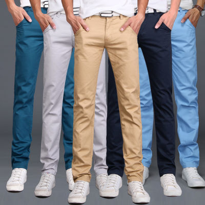 弹力薄款裤子男夏季休闲裤男青年修身直筒裤子男学生韩版潮流棉裤