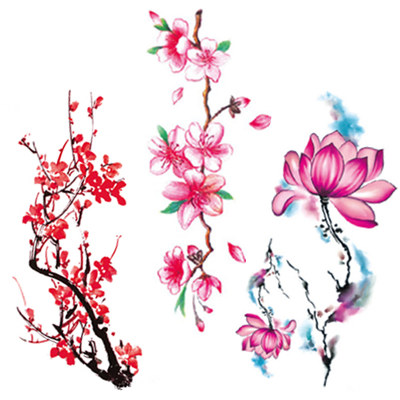 【8大张花朵图】高清纹身贴大图尺寸19cm*9cm花朵创意防水女彩色性感花臀大腿胸部锁骨纹身贴纸