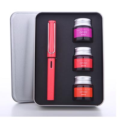 毕加索旗下优尚s007彩墨透明钢笔  男女学生用书写练字钢笔礼盒装